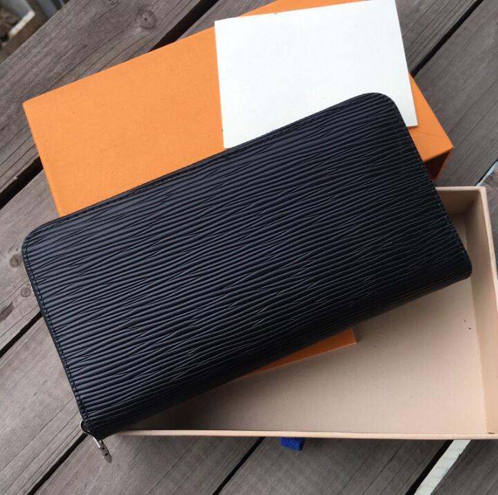 Designer unisex Business Portafogli lusso donne del sacchetto di mano Uomo convenzionale Portafoglio classico di modo Borsetta nera di alta qualità Plain
