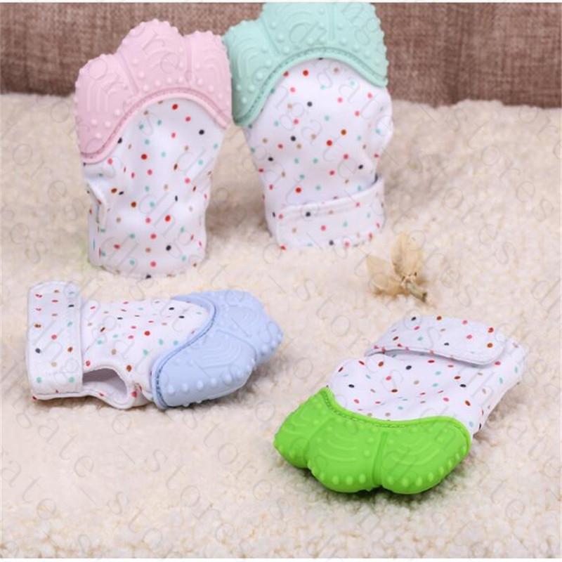 Baby-Silikon Zahnen Glove Mitt Fäustling Silikon Beißring 3 Monate + Süßigkeit Wrapping Ton Beißringe Spielzeug Kleinkinder Kinder Chew Dummy Geschenke LY629