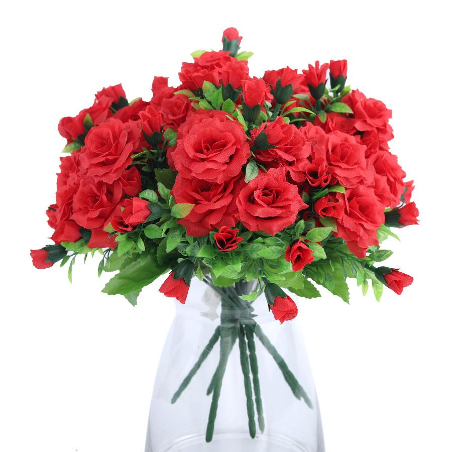 Multiple Heads Wedding Rose Vivid Fresh Silk Rose Artificial Flowers Hibiscus Roses Bride Home Decorative Party Decor Gifts