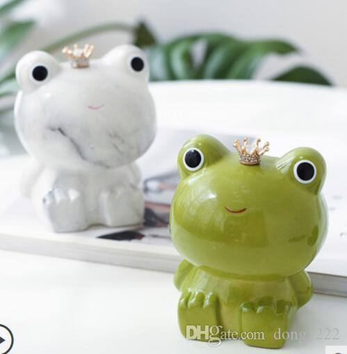 Nordic ins viento porche dormitorio cambio de almacenamiento personalidad creativa lindo pequeño animal cerámica rana alcancía