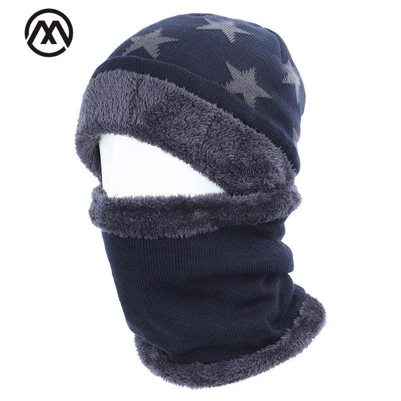 2019 yeni beş yıldızlı pamuk şapka atkı seti erkekler ve kadınlar kış şapka eşarp 2 set artı kadife kalın sıcak kadife erkek bezelye