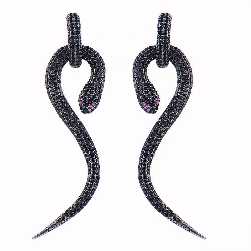 Pendiente colgante cuelga fiesta de la boda del rizo GODKI 72mm de lujo de la serpiente completa circonio cúbico CZ del embutido de compromiso de plata club nocturno Statment
