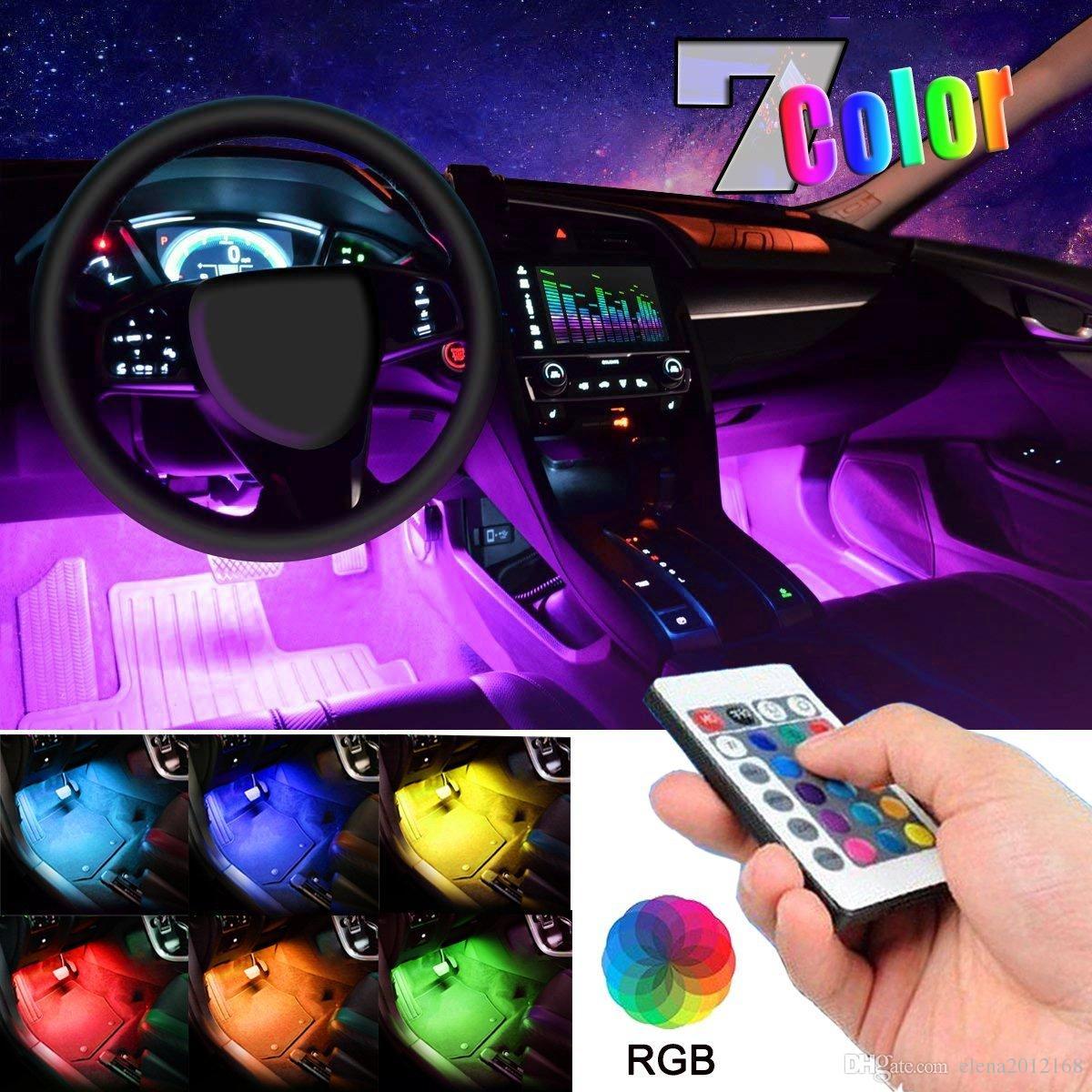 48 LED 멀티 컬러 자동차 RGB 실내 조명 무선 원격 제어 충전기와 대시 조명 키트 아래