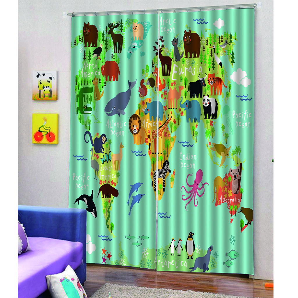 2021 Children Cartoon Shower Curtain Animal Map Of The World For Children Kids Cartoon Mountains Forests Cloth Fabric Bathroom Decor From Gralara 21 78 Dhgate Com