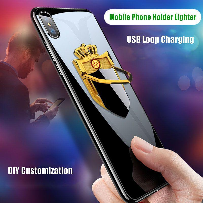 Творческий мобильный телефон кронштейн USB зарядка зажигалки Personality Металл ветрозащитный СВЕСТИ прикуривателя персонализированный пользовательский