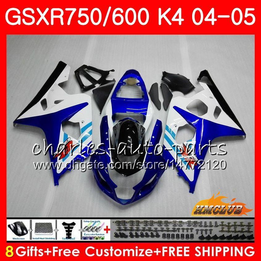 Kit para SUZUKI GSX R600 R750 GSXR600 GSXR750 GSXR 600 750 04 05 7HC.87 GSXR750 azul claro caliente GSXR750 K4 GSXR600 04 05 2004 2005 carenado