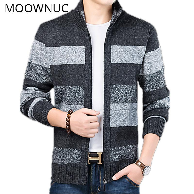Sweater Stripe Men Stand collar Thick Cardigan Keep Warm MWC MOOWNUC Autumn Winter Casual Fashion Classic Style Business Brank