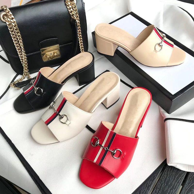 2020 verano nueva Europa Señora deslizadores de metal genuino de la hebilla de las mujeres de moda de cuero mujeres de los deslizadores medio tamaño sandalias de tacón US3.5-US11 42EUR