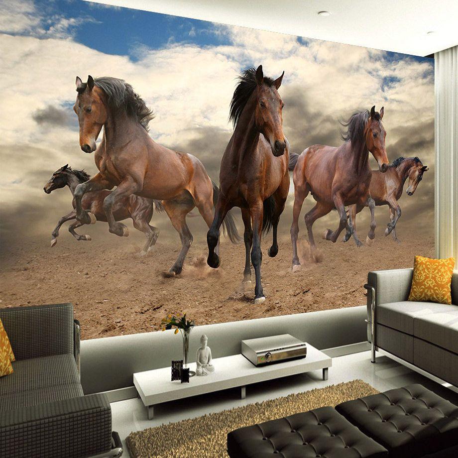 Özel 3D Duvar Duvar Kağıdı Salon Yatak Odası Duvar Kağıdı Rulosunda Stereoskopik Galloping Horse Ev Dekorasyon Duvar Art Dokumasız