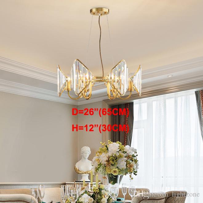 Yeni gelenler lüks üst seviye bakır avize aydınlatma kristal avize ayarlanabilir kolye villa oturma odası yatak odası için lambalar yanar