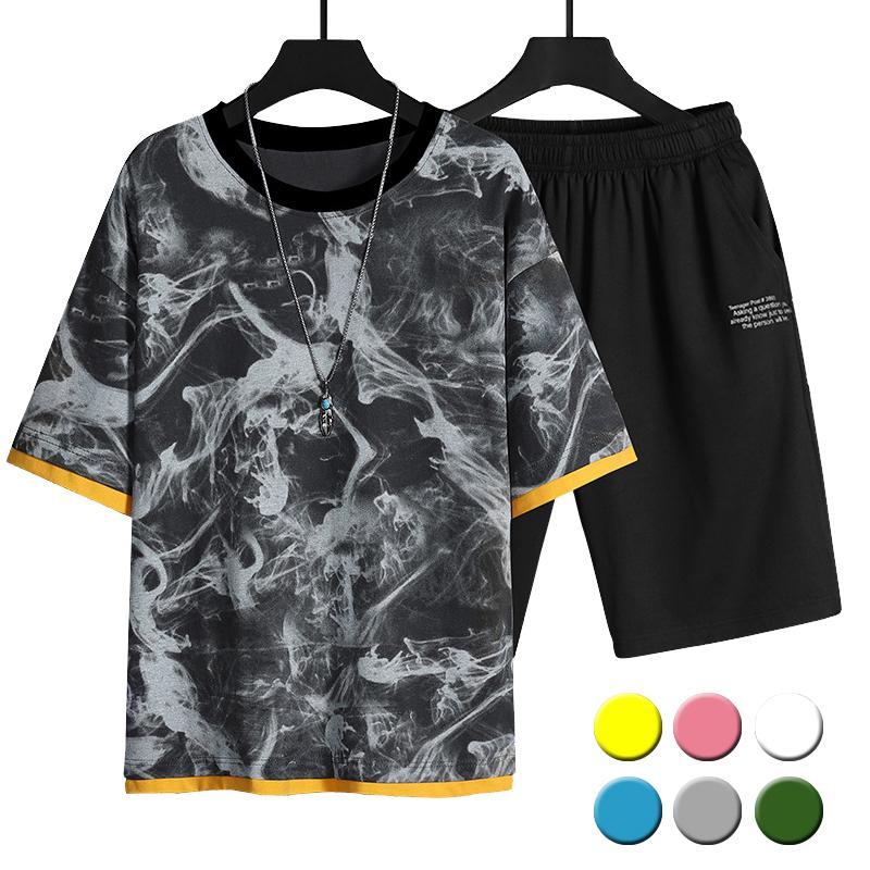Chándal de los hombres 2021 hombres Conjunto casual Moda 2 PCS Traje de sudor de manga corta de rayas Camiseta Shorts Sets Male Sportswear Traje de verano Esporal de verano