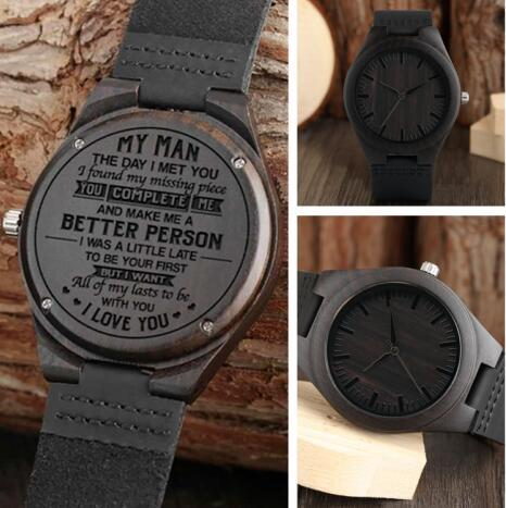 """Fashion """"MY MAN"""" Engraved Word Full Black Men's Ebony Wooden Watch Clock Male Quartz Analog Leather Strap Valentines Gifts for Husband Him"""