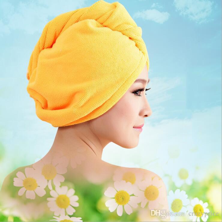 Gorros de ducha Toalla de microfibra de las mujeres mágicas gorros de ducha de pelo Secar Seco Toalla turbante Wrap gorra rápida Secadora Baño seco 60 * 25 cm CFYZ355Q