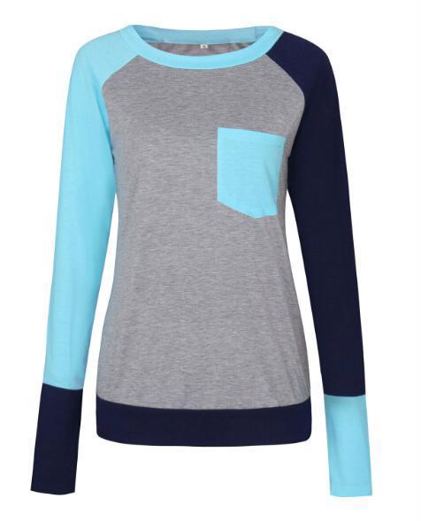 İlkbahar Sonbahar Uzun Kollu T gömlek Kadınlar Renk Patchwork Casual Slim Tişört Femme Kazak Üst Tee Gömlek