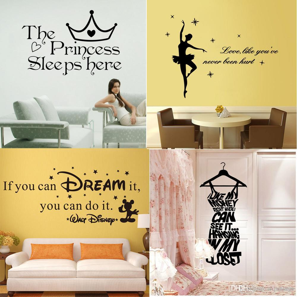 Mixed style wall quote decals stickers home decor vinyl wall art inspired words lettering saying wallpaper dream characters wall stickers