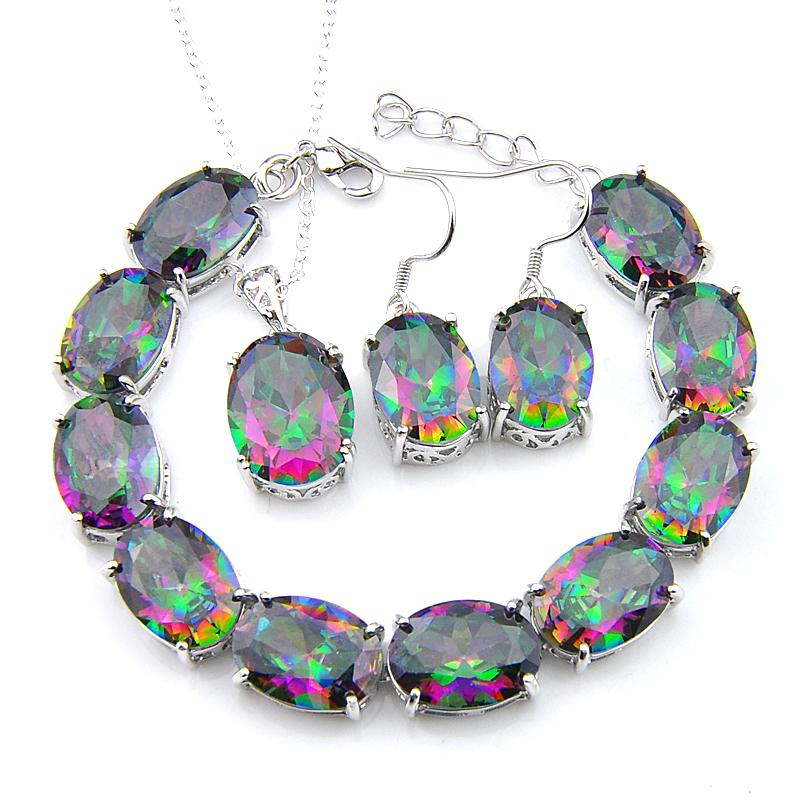 3pcs Lote anillo pulseras pendiente SetsFashion joyería Glary 925 oval de plata de la piedra preciosa de la joyería joyería del arco iris Mystic Topaz