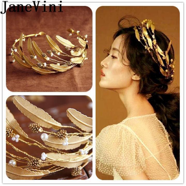 JaneVini Folha De Ouro Acessórios Para o Cabelo Noiva Headbands Princesa Coroa Tiaras de Cabelo Jóias Vintage Wedding Hairband Cheveux Bijoux