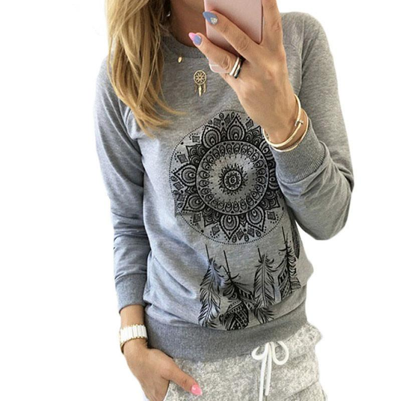 2018 Autumn Women Sweatshirt Casual Long Sleeve Print Pullover Jumper Hoodies Sweatshirts O Neck Fashion Tops Sudaderas Mujer