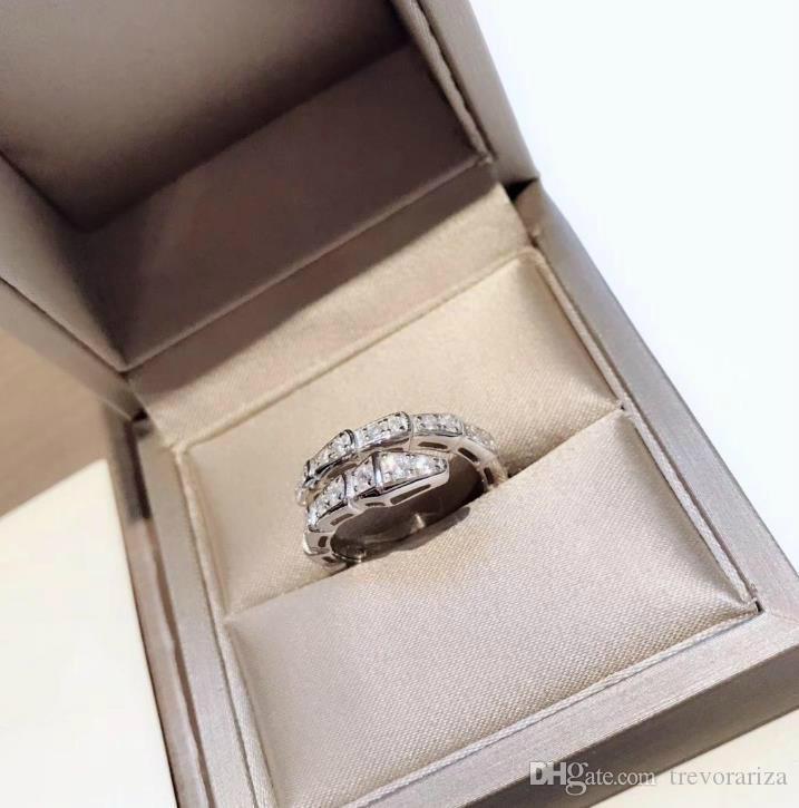Serpenti series Diamond CZ кольцо женщины стерлингового серебра 925 пробы узкая змея открытие регулируемые смарт кольца