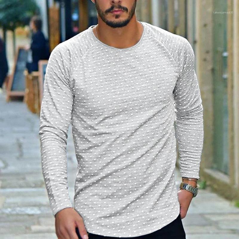 Maniche lunghe Mens Primavera Pure Color Pois Stampa Abbigliamento Uomo Designer Pullover magliette Girocollo Tops