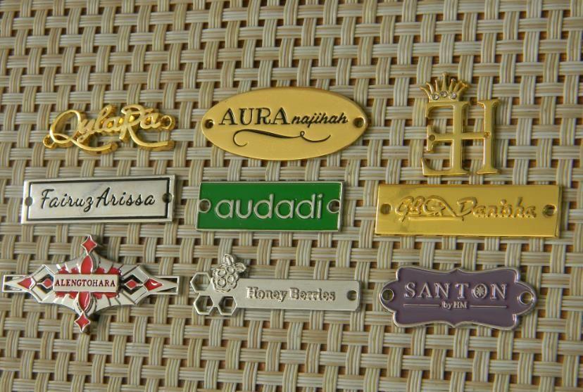 etichette in metallo su misura / tag metallo ferro sulla zona per i jeans borsa tag cucito a mano decorativo