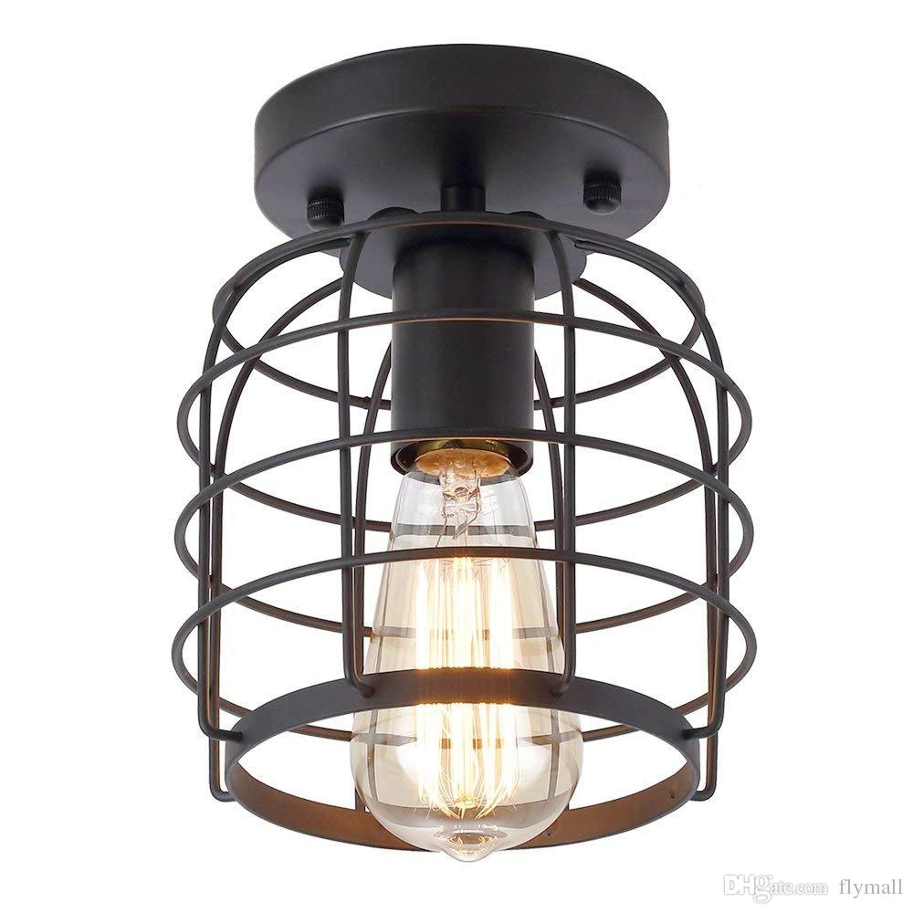 Industrial Vintage Flush Mount Ceiling Light Rustic Metal Cage Pendant Lighting Lamp Fixture for Hallway Stairway Kitchen Garage
