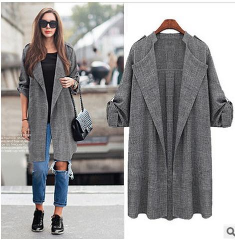 2019 spring women's large sizes long coat female fashion plus size spot cardigan jacket coat