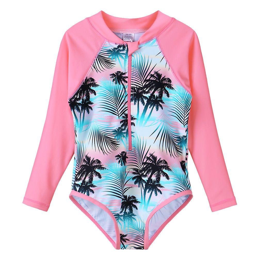 Manica lunga Stampa ragazze costume da bagno di un pezzo dei bambini Swimwear UV50 + Sun Vestito per bambini Costumi Beach Wear