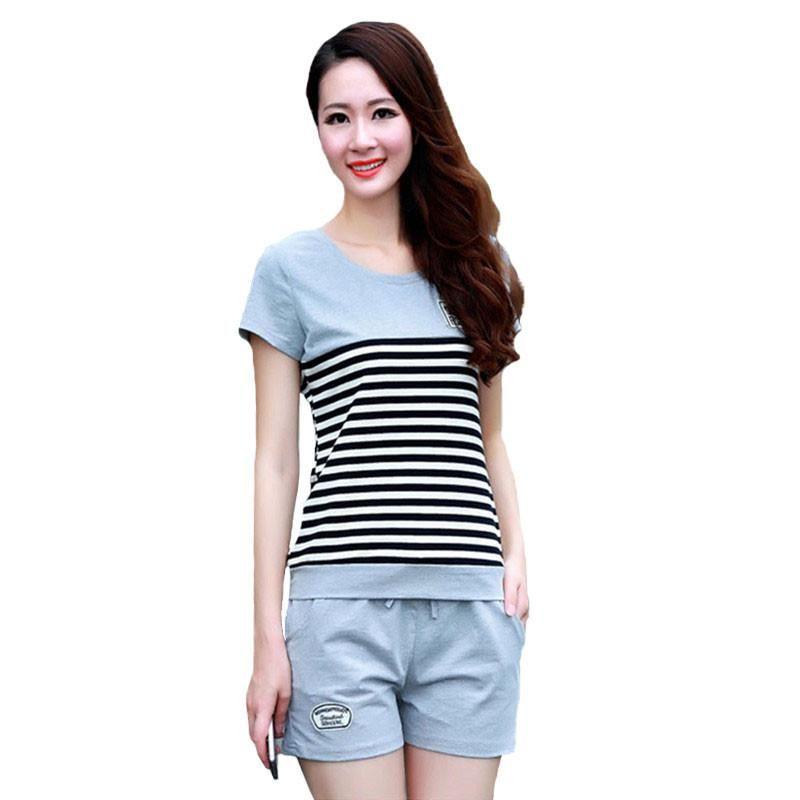 Las mujeres 'S chándales de dos piezas del verano de manga corta a rayas camiseta Tops + Shorts Sweat fijaron a las mujeres que poseen trajes de pista traje divertido