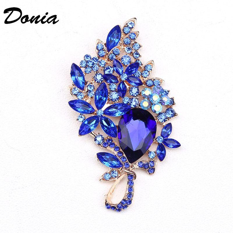 Dona Jewelry Flower Fashion Hot Brooch Color Color Grande Spilla in vetro Crystal Glass Brooch Cappotto da donna Accessori Perno Squisito regalo squisito