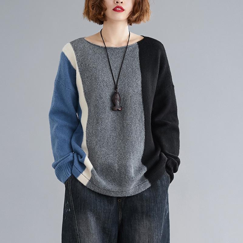 Johnature O-cuello del suéter de las mujeres ropa 2020 Nueva Primavera Jerseys remiendo libre de la manga completa de todos los partidos suelta Mujeres Suéteres