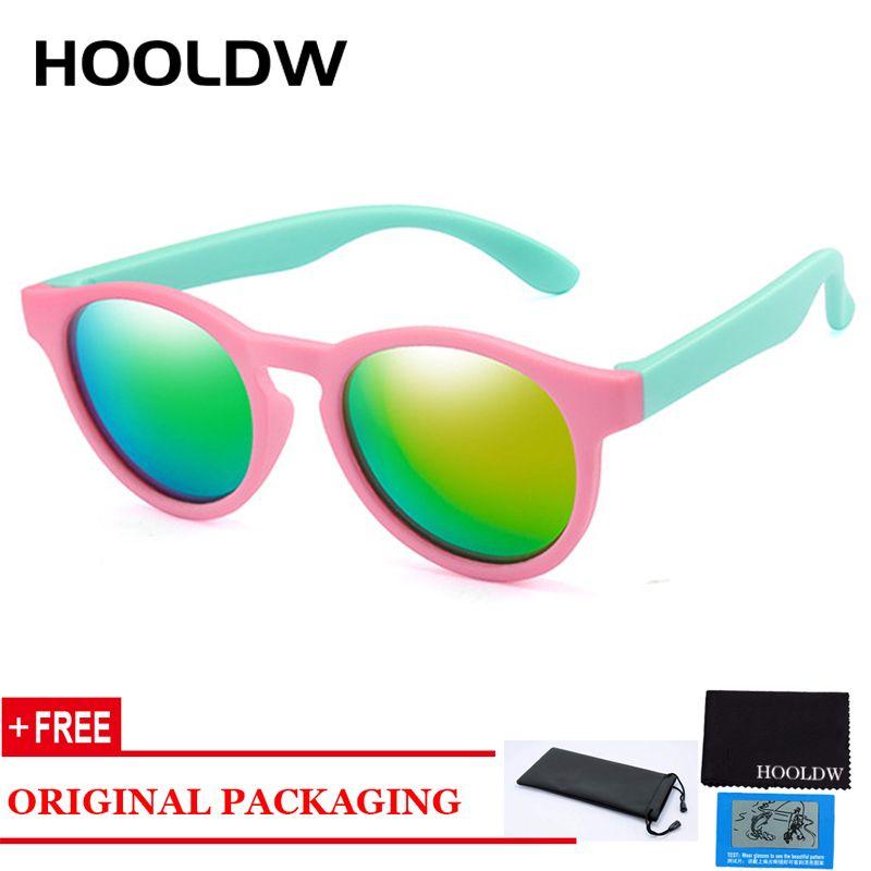 HOOLDW Round Children Polarized Sunglasses Kids Sun Glasses Boys Girl Silicone Glasses Baby Shades UV400 Eyewear
