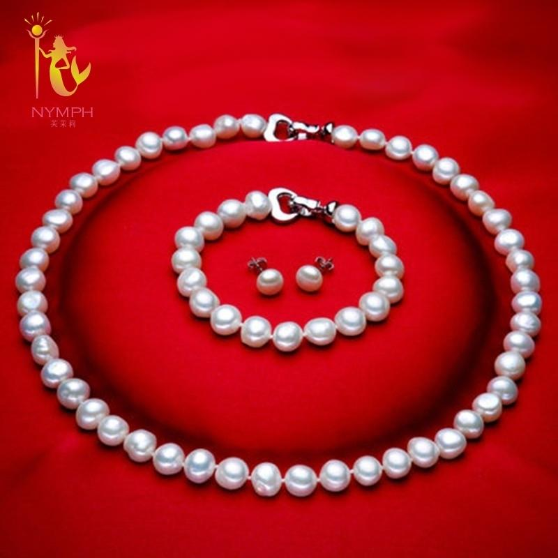[nymph] Genuine Baroque Pearl Jewery Sets Natural Freshwater Pearl Necklace Bracelet Earrings 8-9mm Fine Jewelry [t1010] J190628