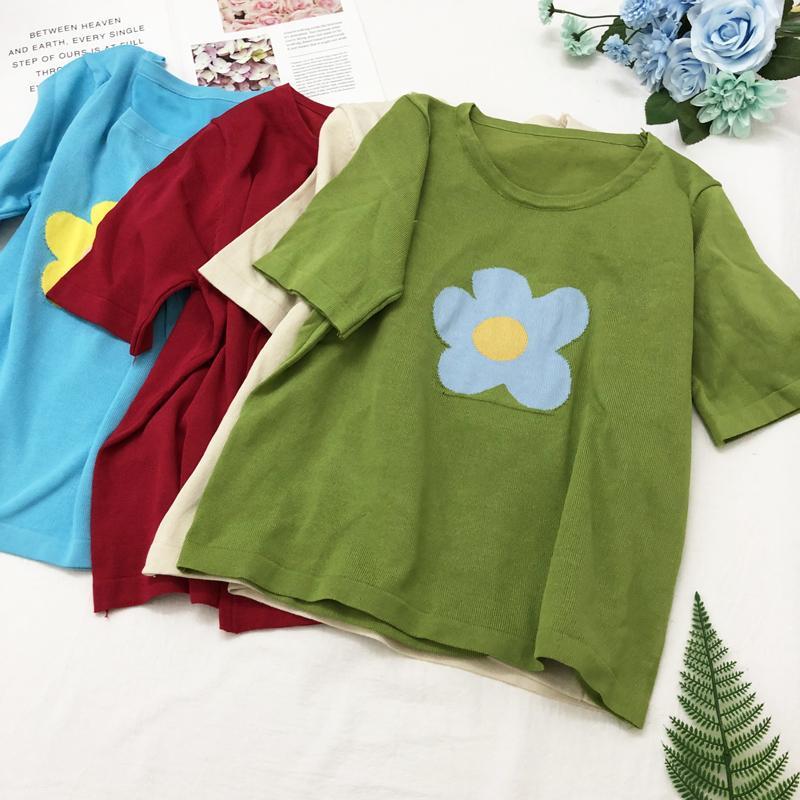 T-shirt Femme Femmes Col O-Cold Trainet Court Solide T-shirts Filles Filles Tricoter Grand T-shirts Lâche Tshirts en vrac Élastique Tops Fl1369