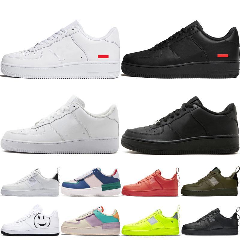 supreme Nike Air Force 1 Forces Shoes af1 Dunks Yeni yüksek erkekler kadınlar düşük siyah beyaz buğday bir ayakkabı örgü bir mens bayan tasarımcı spor koşu sneakers ayakkabı