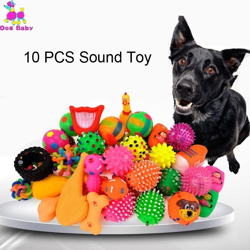 Filhote de cachorro Toy s 10PCS aleatória Pet Dog Cat Vinil esfera do cão Squeaky Toy Quack Chew Som Jogar Buscando Para Engraçado Toy
