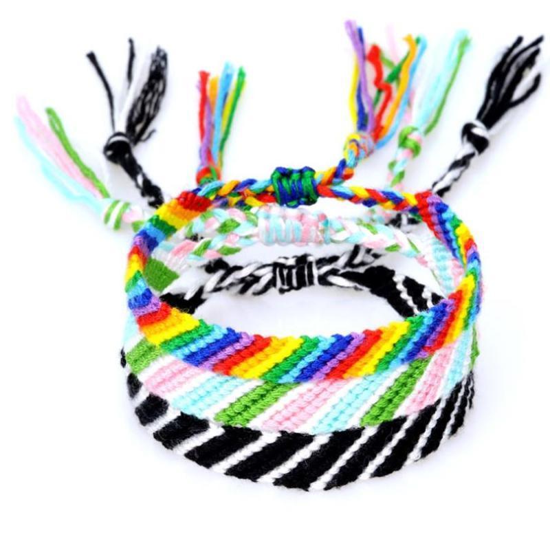 Cord Ybollar Arcobaleno amicizia braccialetti handmade tessuto di cotone Macrame Wristband Boho braccialetto dell'involucro di stile di Yoga gioielli Pulseras