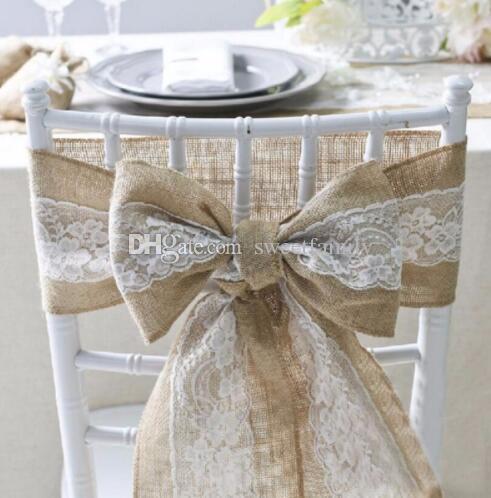 15 * 240 cm Naturaleza Elegante Arpillera de Encaje Sashes Fajas Silla de Yute Pajarita Para la Decoración de Eventos de Boda Rústica