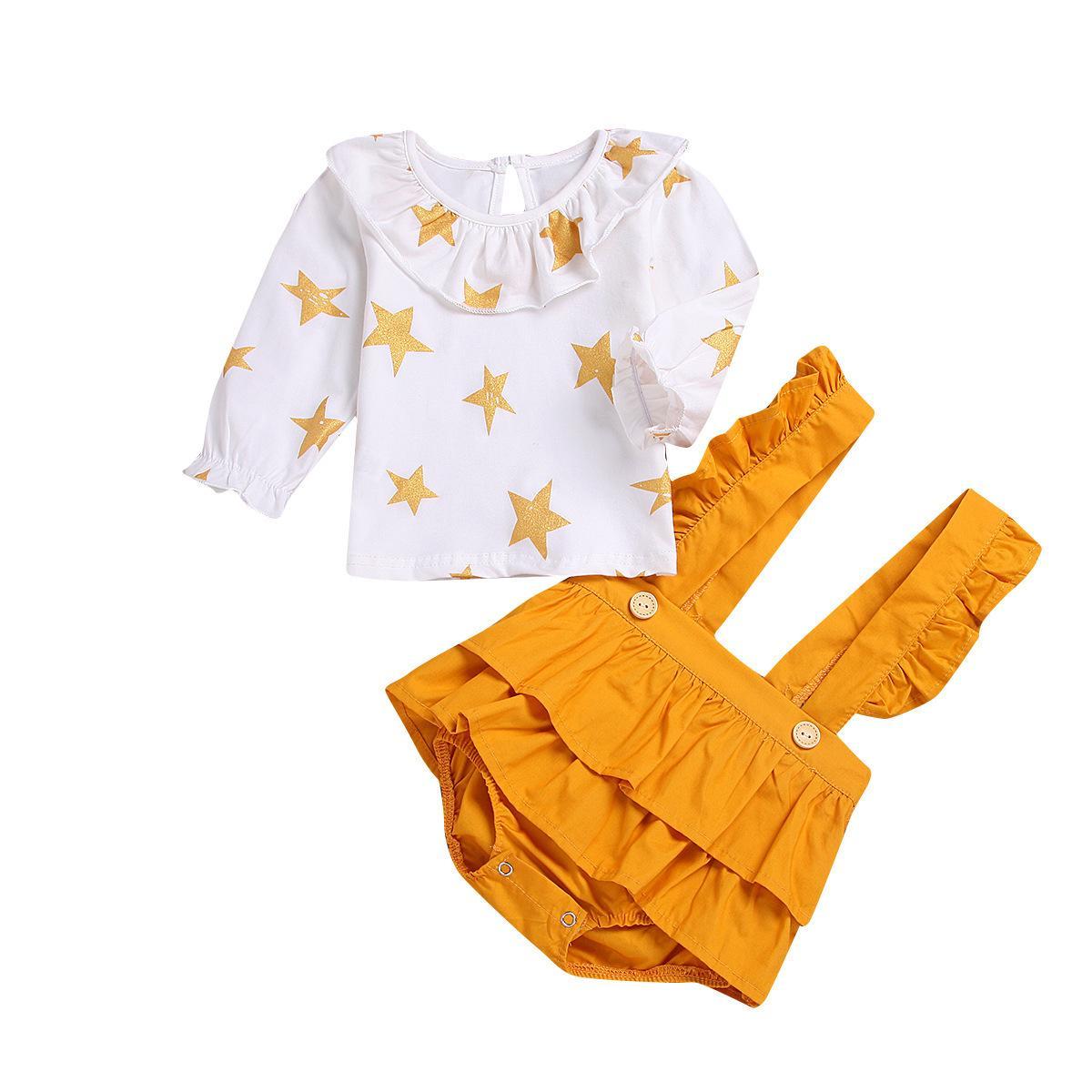 Vêtements pour bébé 2018 commerce extérieur européen et américain explosif pour enfant vêtements étoiles veste en or pentagonale, bretelles, jupes et pantalons deux s