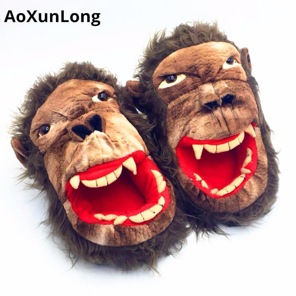 AoXunLong Yeni Kış Sıcak Erkekler Terlik Güzel Monkey Peluş Ev Terlik Festivali Yaramazlık Unisex Flop Eu 39/44 Mens çevirin