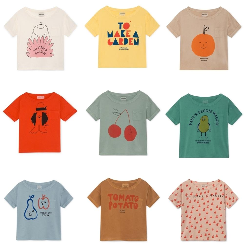 Bobo Choses 2019 Summer Baby Boys Girl T Shirt Cotton Tops Animal Short Sleeve Kids Girls T-shirts Children Tees Kids Clothes Y19051003
