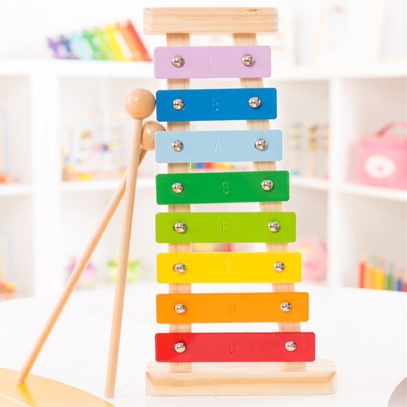 أطفال خشبية زيلوفون لعبة قوس قزح الطفل تربية موسيقية قرع لعبة للأطفال PHOOHI