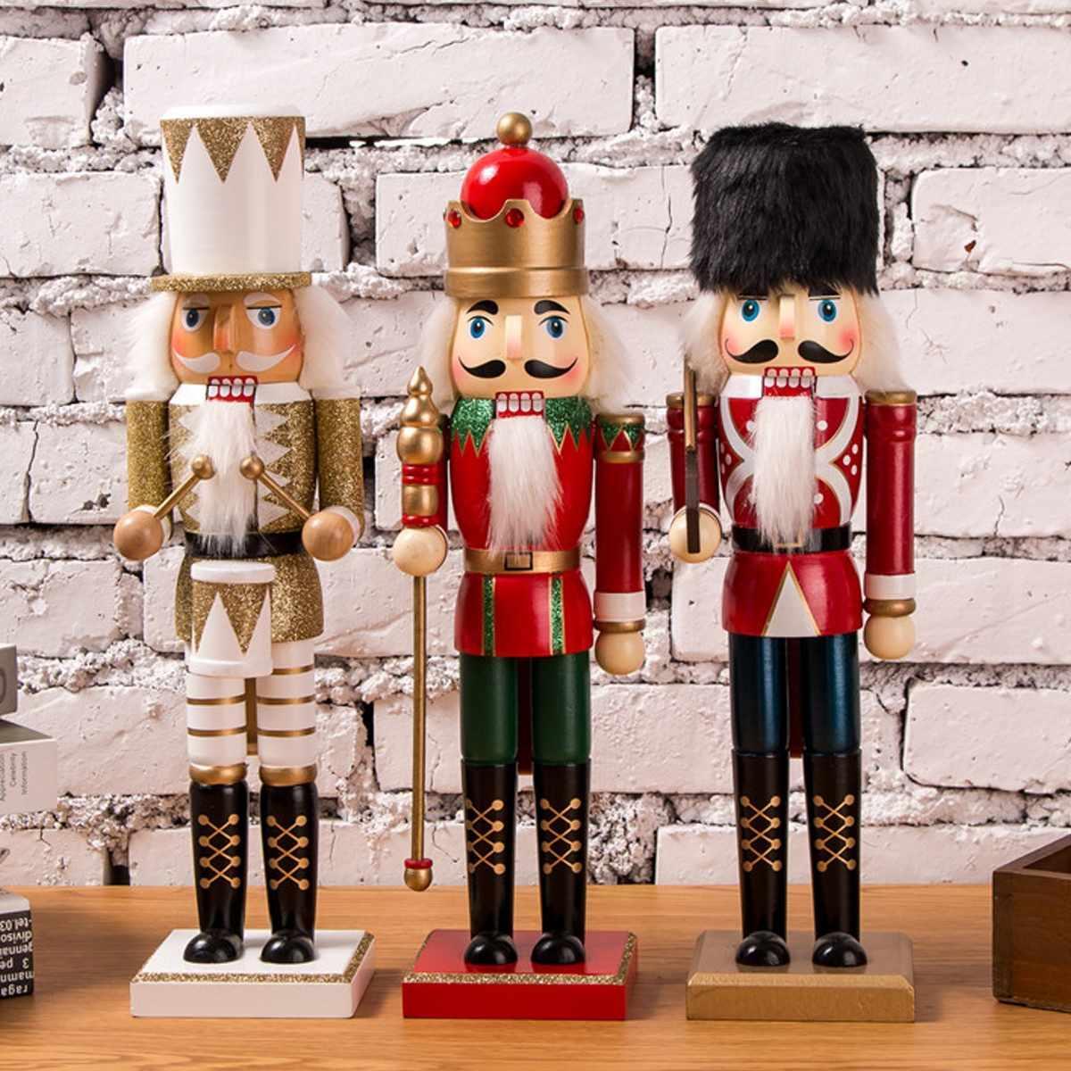 35cm Vintage Artesanat Marionnettes Party Casse-Noisette poupée en bois Accueil Décoration Décorations Cadeaux de Noël