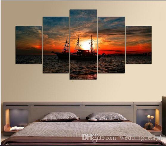 قماش جدار الفن صور الإطار مطبخ مطعم ديكور 5 أجزاء البحر الغروب قارب غرفة المعيشة طباعة الملصقات