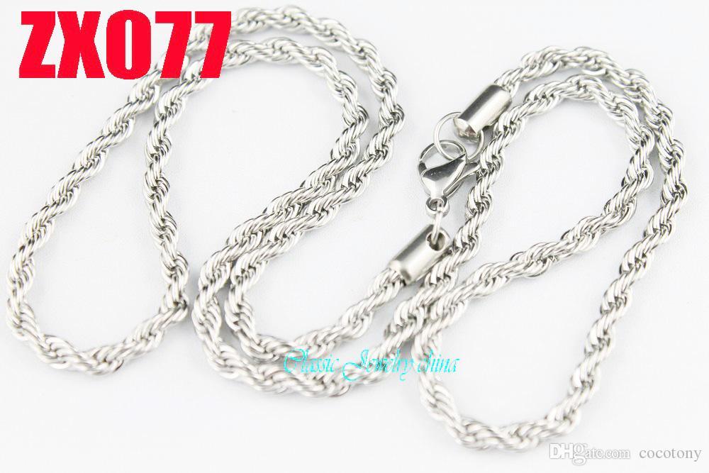 Bonne qualité 304 5pcs chaînes de collier chaîne de torsion en acier inoxydable 4.0mm de Noël mode présente 18 « » - 28inch