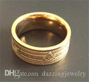 316 Stainless steel Gold Silver 8MM men's Masonic regalia signet masonic rings man compass and square Freemason masonary rings
