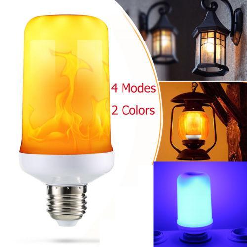 4 طرق LED الشعلة مصباح وميض تأثير لهب النار E27 LED مقلد ضوء لمبة 3W