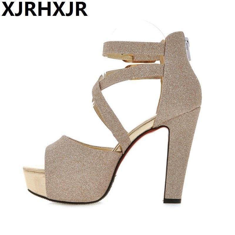 Summer Style Women s Shoes Thick High Heel Sandals Female Platform Sequins Waterproof Platform Peep-toe Sexy Pumps Large Size