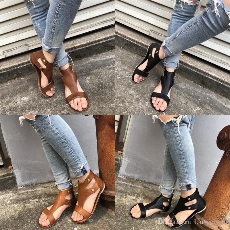 المعادن برشام الصنادل الصيفية النساء تنفس flattie كاكي أسود براون بسيط الأزياء لينة حذاء مسطح حار بيع 25sl d1
