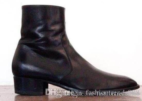2019 New Leder Herren Stiefeletten zip up Stiefel schwarz alten Stil Stiefeletten Herrenmode Party Schuhe Vintage